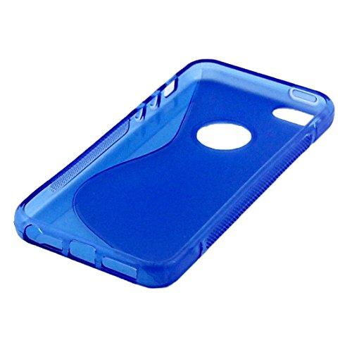 iPhone Case Cover S-Shaped Soft TPU Housse de protection pour iPhone 5 & 5s & SE ( Color : Blue ) Blue
