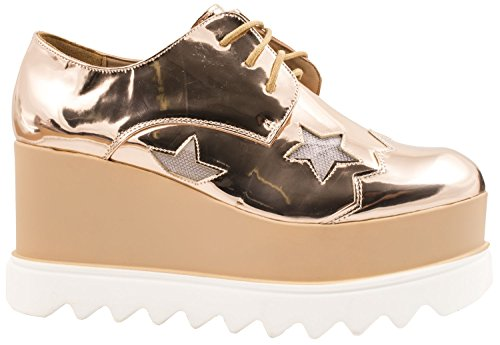 Elara Damen Plateau Schuhe | Metallic High Halbschuhe | Schnürer Profilsohle Gold Profil