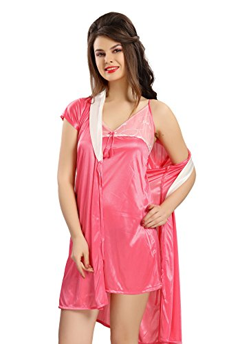 AV2 Women Satin Short Nighty with Lace & Robe