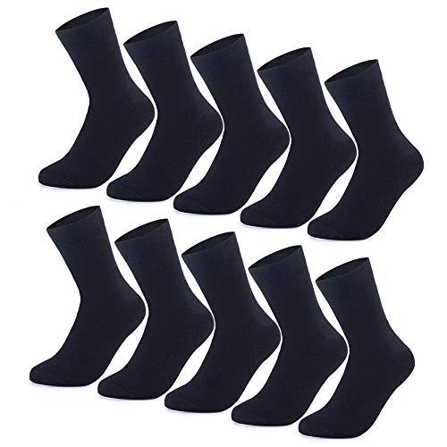YouShow Socken Herren Damen Unisex Baumwollsocken 10 paar Schwarz für Business Komfort-Bund(Schwarz,39-42)
