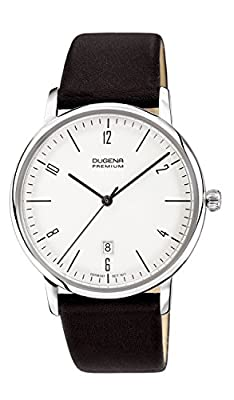 Dugena Men's Dugena Premium Quartz Watch with White Dial Analogue Display and Black Leather Strap