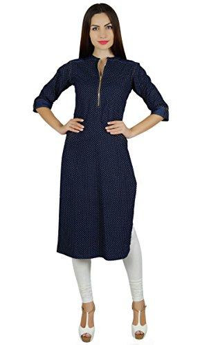 Bimba chambray bleu branché kurta kurti manches 3/4 tunique chic avec blouse Bleu