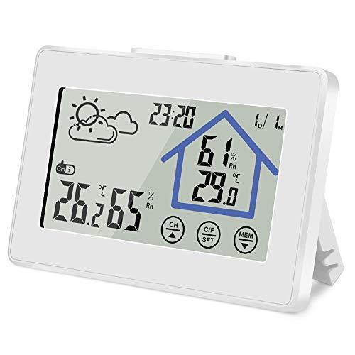 Vegena Wetterstation Funk mit Außensensor, Innen Außen Thermometer Hygrometer Wettervorhersage, Digital Farbdisplay Touchscreen Wecker Schlummerfunktion Uhrzeit Anzeige für Zuhause Büro Schlafzimmer