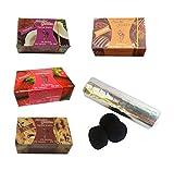 Outletdelocio. Pack 4 Hierba para cachimba Shisha sabores Fresa, Vainilla, Chocolate y Coco + Pastillas Carbon cachimba.58324