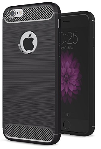 Oceanhome Schutzhülle apple iPhone 6 Plus Hülle , Stoßfest TPU Silikon Schutz hülle Rutschfeste Schlanke Handy hülle für apple iPhone 6 Plus Bumper Case , Carbon Gebürstet für iPhone 6 Plus Case Cover Schwarz