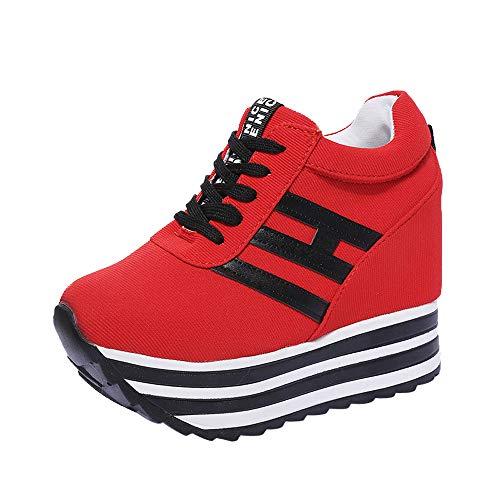 Dragon868 Sneakers Donna con Zeppa Stivali Plateau Moda Scarpe Ragazza Scarpe Tacchi Alti Ginnastica con Lacci Scarpe Comode per Camminare Casual