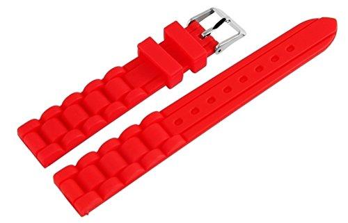 Rotes Animoo 16mm Silikon Uhren Armband Ersatzband mit Dornschließe und 2 Federstege