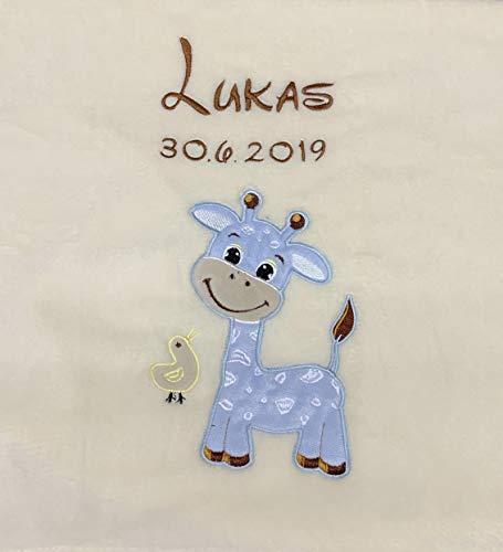 Babydecke bestickt mit Name und Geburtsdatum/kuschelig weich / 1A Qualität (Beige - GIRAFFE Hellblau)