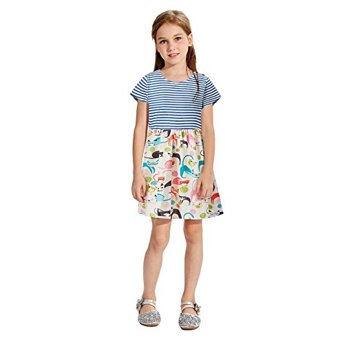 Chicolife Girls Cotton Dresses Summer Floral Dress Strpied A Line Casual Sundress Short Sleeves