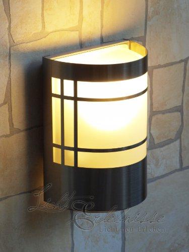 Wand-Außenleuchte aus Edelstahl & Glas IP44 Außenlampe Hoflampe Gartenlampe Gartenleuchte Wandlampe 1010C