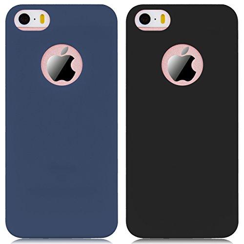 2 x Coque iPhone 5 / 5S / SE, Yokata Solide Mat Anti-Fingerprint Case Housse Étui Soft Doux TPU Silicone Flexible Backcover Ultra Mince Coque - Bleu Marine + Noir