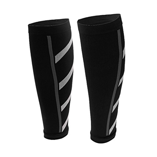 1 Pair Unisex Calf Compression Sleeve for Men and Women Leg Compression Sleeves - black