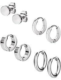 4 Stile Edelstahl Hoop Ohrring Stud Ohrring Huggie Piercing für Männer und Frauen, 18 Gauge, 4 Paare, (Stahlfarbe)