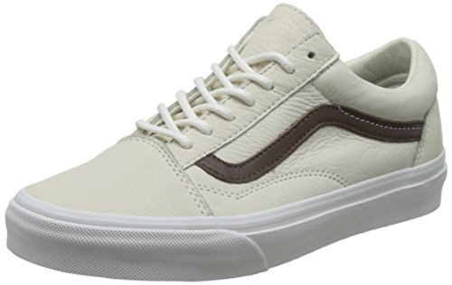 Vans Old Skool Scarpe da Skater, Basse, Unisex, Adulto (leather) blanc