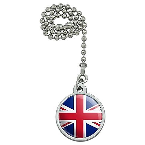 Royaume-Uni Grande-Bretagne Union Jack Drapeau Pays ventilateur de plafond et chaîne de Tirette pour luminaire