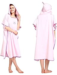 Changing Robe Towel Poncho with Hood for Surfing Swimming Wetsuit Changing,Compact & Light Weight,One Size Fit All