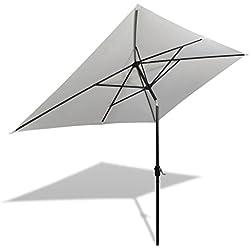 vidaXL Parasol Blanc Sable Rectangulaire Parasol de Jardin Plage Pare-soleil