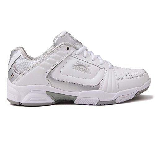 Slazenger Damen Tennis Schuhe Turnschuhe Sport Tennisschuhe Schnuerschuhe Weiß/Silber 6.5 (40) -