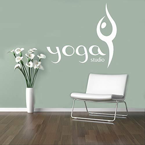 zhuziji Yoga Studio Wandtattoo Wohnzimmer Vinyl Wandaufkleber Abnehmbare Symbol Zeichen Innenwanddekor Kunstwand Elegante DIY YOG 84x122 cm