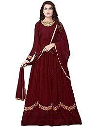 5604204487a Ethnic Yard Women s Faux Georgette Dress Material (EY F1161 Free  Size Maroon)