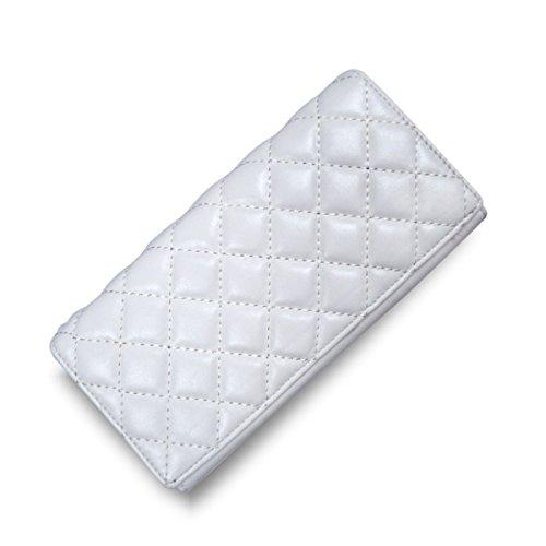 WU Zhi Signore PU supporto Di Carta Fermasoldi Portafogli White