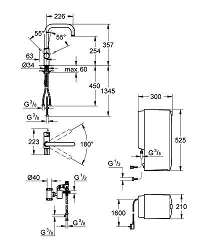 GROHE Red Duo Armatur und Kombi-Boiler (8 Liter), U-Auslauf 30156000 - 2