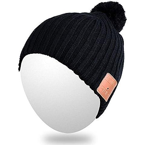 Qshell lavable inalámbrica Bluetooth Beanie sombrero de Pom Cap música con el auricular del auricular altavoces estéreo y micrófono manos libres para deportes al aire libre, compatible con celulares Iphone Android - Negro