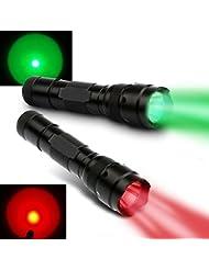 Windfire® WF-502B 100Patio rojo y verde LED Coyote Hog Hunting luz Linternas tácticas con interruptor de presión y soporte de barril para caza pesca (2x caza linterna luz, batería no incluida)