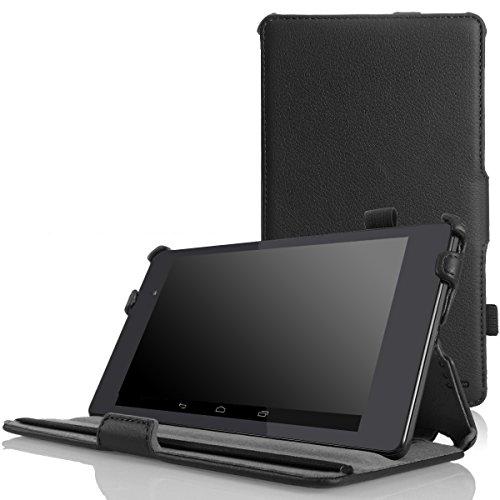 MoKo Google New Nexus 7 FHD 2nd Gen Hülle - Slim-Fit Schutzhülle Case Tasche Smart Cover mit Auto Sleep Wake up Modus und Standfunktion für Google Nexus 7 2 2013 Tablet, SCHWARZ (Moko-case Für Nexus 7)
