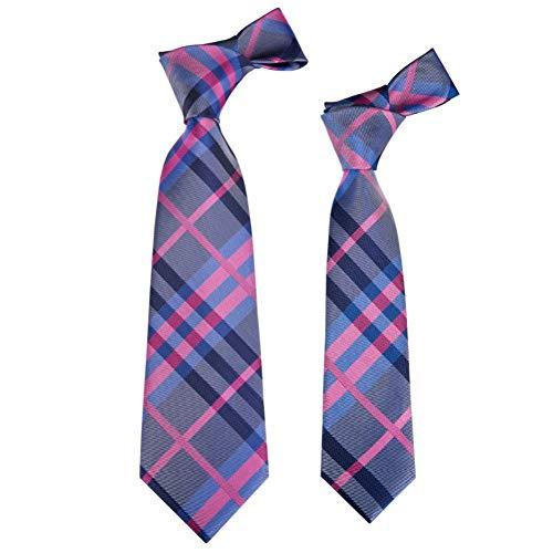 LLTYTE Qz-467 Eltern-Kind-Krawatte aus gewebtem Polyester Blütenblatt Gestreifte Kinderkrawatte Krawatte Geeignet für geschäftliche Anlässe -