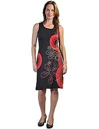 Damen ärmelloses Kleid mit Zweigen des Winters Baum Print-Design…