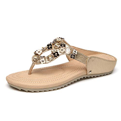 Hzyshoe Frauen Flache Sandalen, Strass Sandalen, Flip Flop, Jeweled Sandalen,36 Jeweled Stiletto