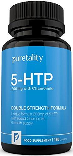 5-HTP 200 mg, 180 Kapseln (Versorgung für 6 Monate) – 100% GELD-ZURÜCK-GARANTIE – Doppelte Stärke 5 HTP angereichert mit Kamille von Puretality