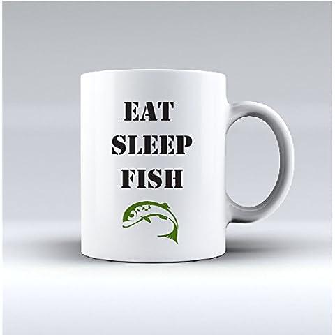 EAT SLEEP FISH-bone china mug, perfetta idea regalo per amici di pesca