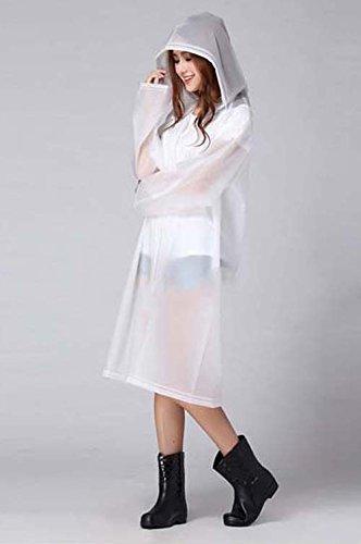 Unisex Addensare Indumenti Impermeabili Con Cappuccio Da Traslucido EVA Impermeabile Riutilizzabile Pioggia Poncho Giacca Impermeabile Bianco