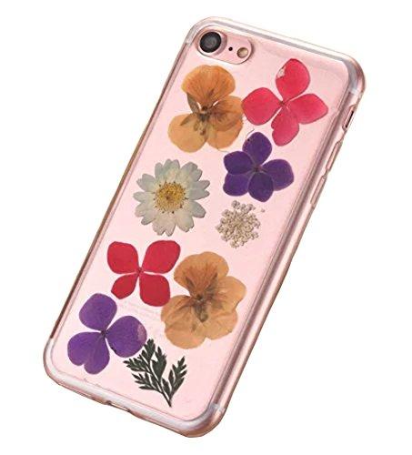 iPhone 8 Klar Handycover, Aeeque iPhone 8 (4.7) Handgefertigt Echt Blume Schutzhülle, 3D Handmade Elegant Mädchen Blumen-Serie Design Klar Durchsichtig Flexibel Silikon Zurück Bumper Case Cover für iP Blumen #13