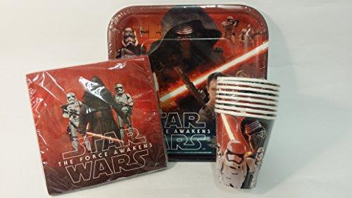 Lot de 3Party Set de vaisselle Star Wars épisode 7–8Assiettes en Carton et Lot de 8gobelets en carton et 16serviettes