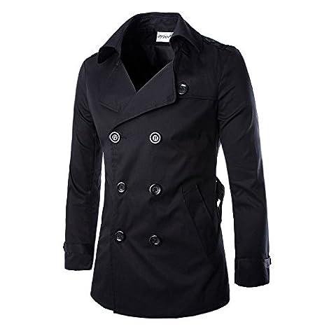 Vertvie Homme Slim Fit Trench Coat Veste Blouson en Coton Double Boutonnage Noir XL