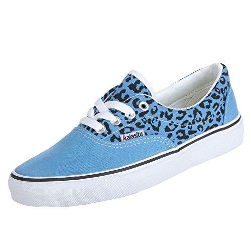 Damen Schuhe FREIZEITSCHUHE LEOPARDEN MUSTER SNEAKER Farben Weiss Pink Blau Rosa Größen 36 37 38 39 40 Blau