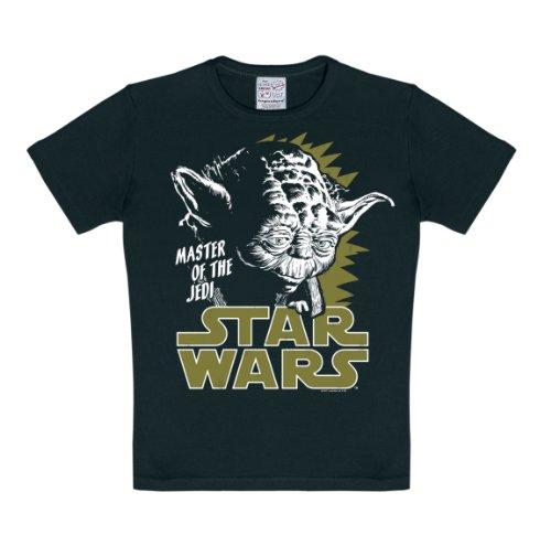 Logoshirt Star Wars - Jedi Meister - Yoda T-Shirt Kinder Jungen - schwarz - Lizenziertes Originaldesign, Größe 104/116, 4-6 Jahre (Größe Star Jungen, Shirt Wars Für 6)