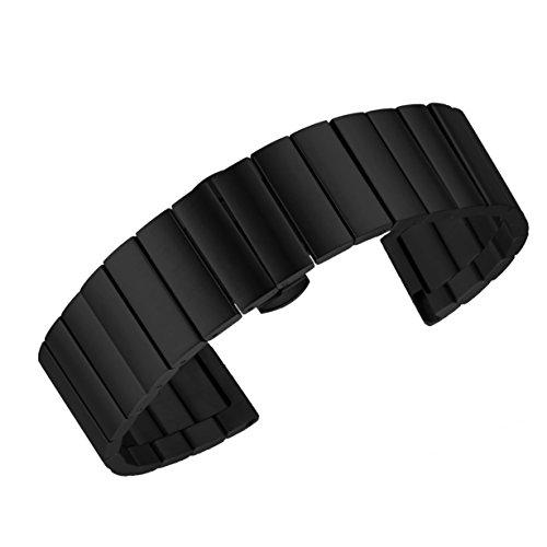 24mm Luxus gebürstetem Metall Link-Uhrenarmband für Männer mit abnehmbarem Link in schwarz festen Inox-Stahl