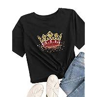 SheIn Women's Casual Crown Graphic Print Short Sleeve Basic Summer Tee Tops T-Shirt Black L
