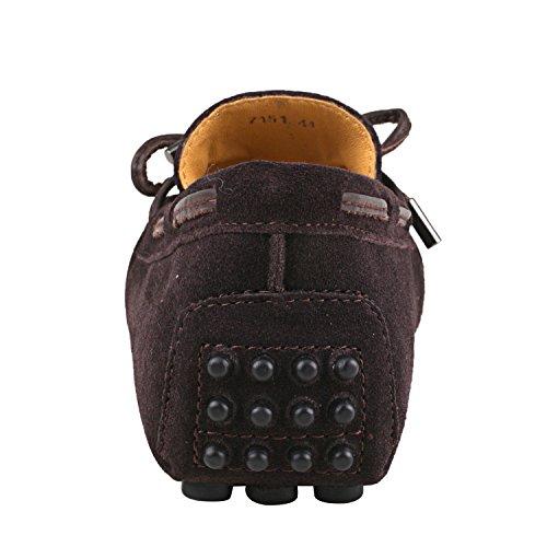 Shenduo - Mocassins pour homme cuir - Loafers confort - Chaussures de ville D7151 Café