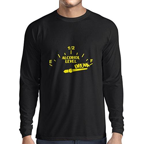 N4177L Zu viel trinken ... lustiges Geschenk, Langarm T-Shirt Schwarz Gelb