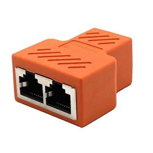 Rfi-splitter (Homyl RJ45 Splitter Adapter 1 bis 2 Dual Female Port, Cat 5/Cat 6 Lan Ethernet Splitter Adapter - Orange)
