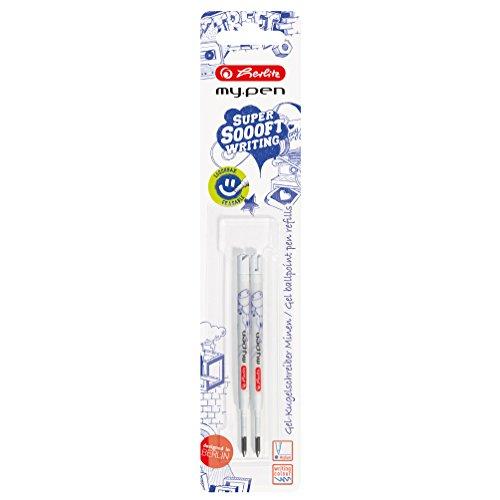 Herlitz Gel Kugelschreiberminen my.pen, 2 Stück auf Blisterkarte, Großraummine, blau