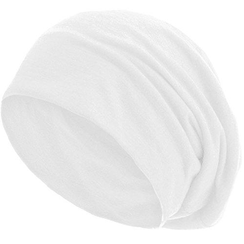 style3 Slouch Beanie aus atmungsaktivem, feinem und leichten Jersey Unisex Mütze Haube Bini Einheitsgröße, Farbe:Weiß