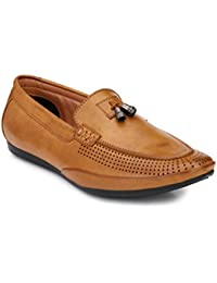 Real Blue Mens' Tan Slip-On Loafers Shoes ( Casual Shoes| Party Wear Shoes| Daily Wear Shoes| Office Shoes )
