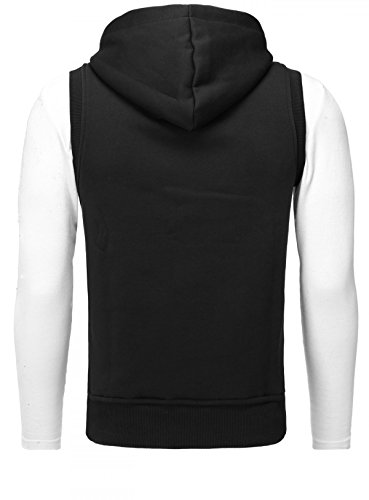 Akito Tanaka Herren Weste Vertical Zip Vest Sweater mit Kapuze Kapuzenpullover Zipper Hoodie Pullover ohne Arm Sweatshirt mit Reißverschluss Slimfit Schwarz / Weiß
