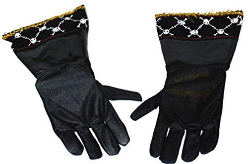 Fancy Ole - Piraten Kostüm Handschuhe- lederartige Handschuhe Totenköpfe, Schwarz